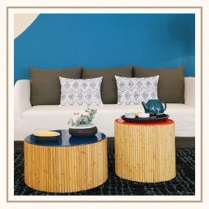 TABLE BASSE DUO RIVIERA - NOIR & BLEU